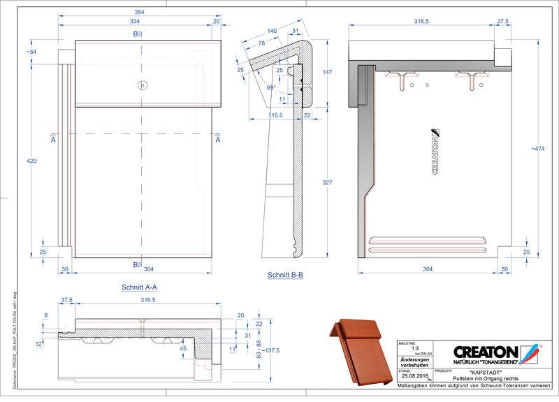 CAD файл черепиці KAPSTADT черепиця бічна права для односхилого даху PultOGR