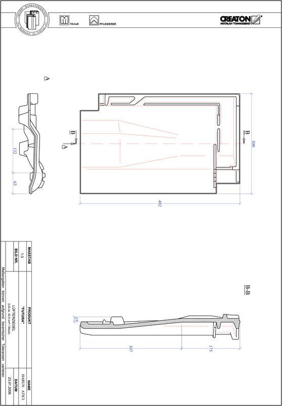 CAD файл черепиці FUTURA вентиляційна черепиця LUEFTZ