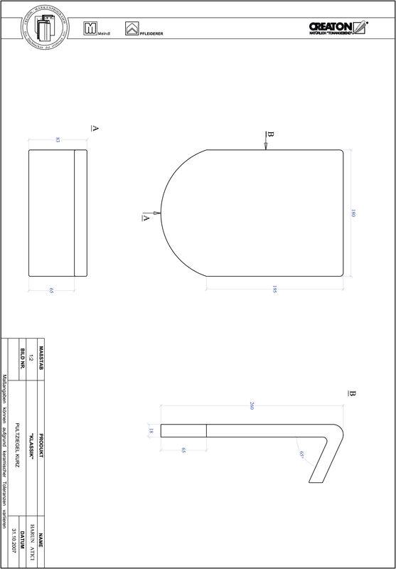 CAD файл черепиці KLASSIK напівкругла форма RUND-PULT-kurz1