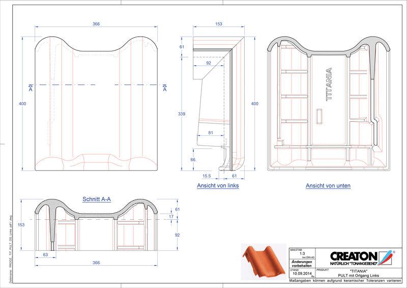 CAD файл черепиці TITANIA черепиця бічна ліва для односхилого даху PULTOGL