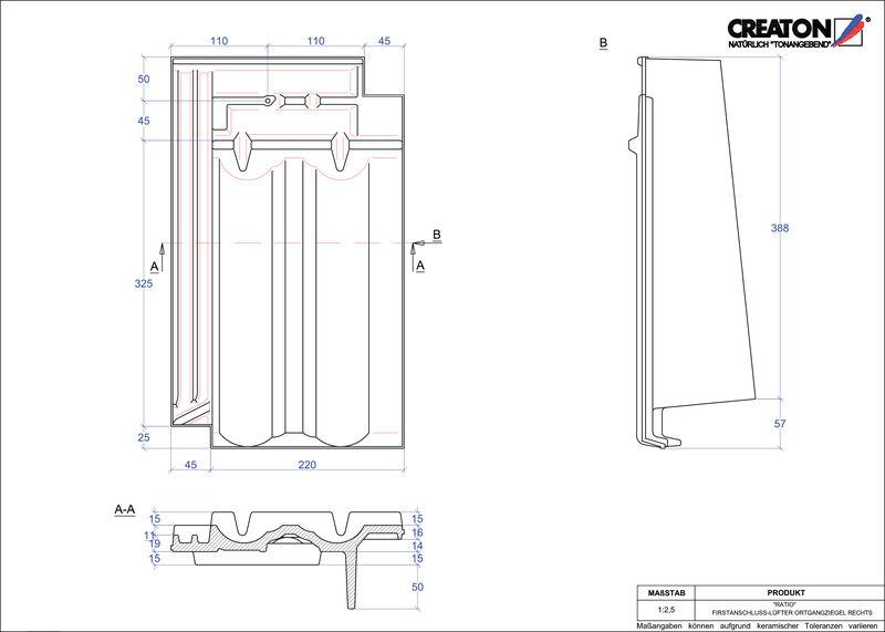 CAD файл черепиці RATIO черепиця  гребенева вентиляційна бічна права FALOGR