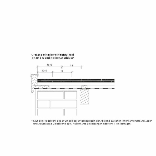 Технічне креслення черепиці KLASSIK OG-Ausbildung-Biber-3-4-1-4-Nockenanschluss