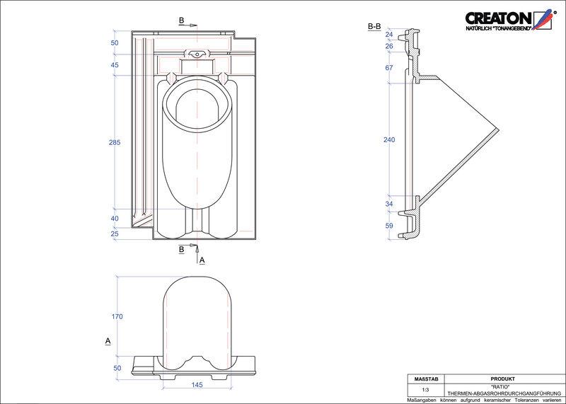 CAD файл черепиці RATIO наскрізна черепиця для газових димоходів THERME