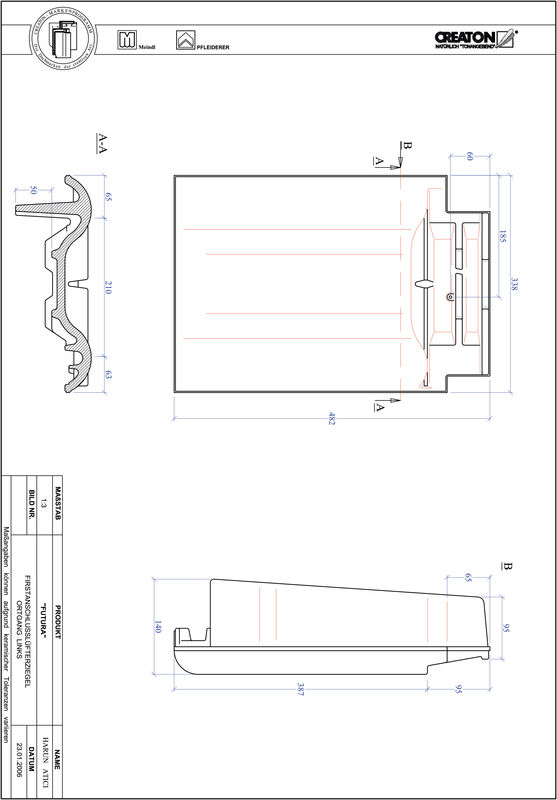 CAD файл черепиці FUTURA черепиця  гребенева вентиляційна бічна ліва FALOGL