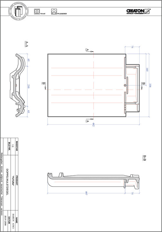 CAD файл черепиці FUTURA двохвильова черепиця DWZ