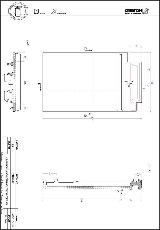 CAD файл черепиці DOMINO двохвильова черепиця  гребенева вентиляційна FALDWZ