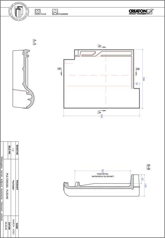 CAD файл черепиці FUTURA покрівельна черепиця для односхилого даху PULTFLA