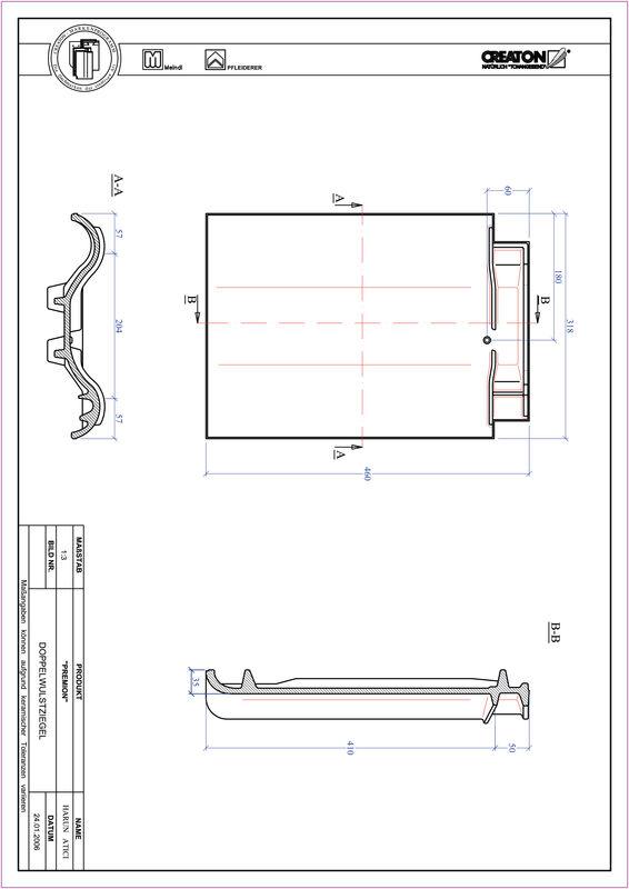 CAD файл черепиці PREMION двохвильова черепиця DWZ