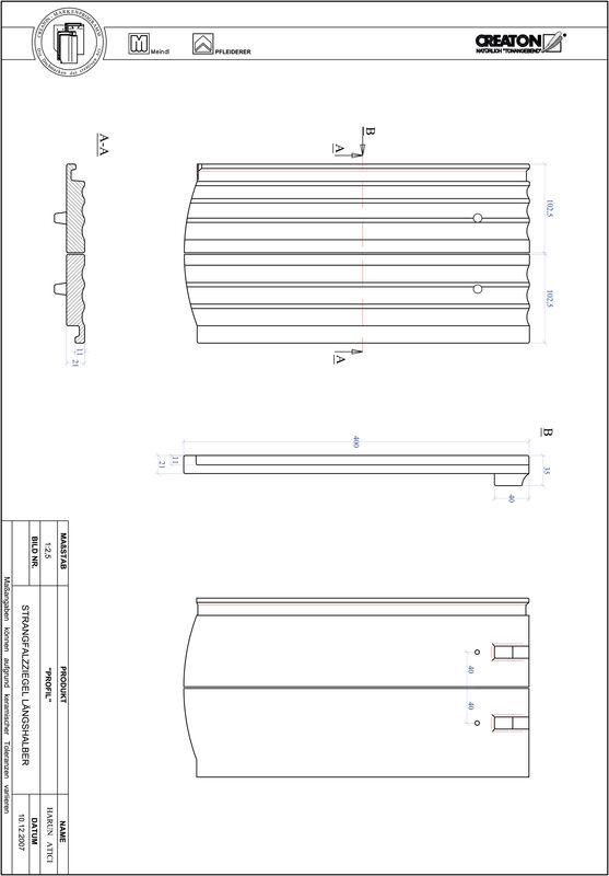 CAD файл черепиці PROFIL сегментна форма STRANGFALZ-GEWELLT-LH