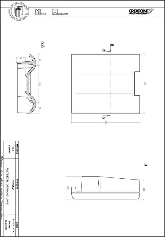 CAD файл черепиці FUTURA черепиця бічна ліва для односхилого даху PULTOGL