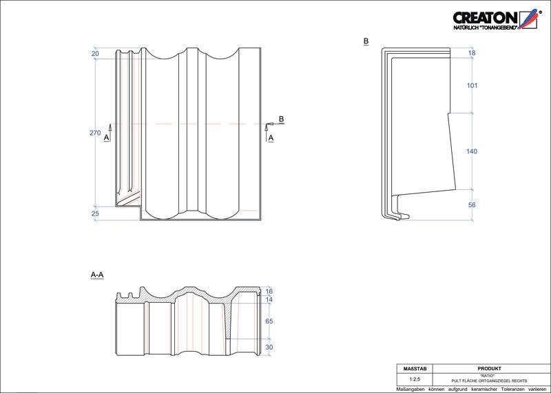 CAD файл черепиці RATIO черепиця бічна права для односхилого даху PULTOGR