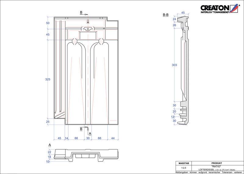 CAD файл черепиці RATIO вентиляційна черепиця LUEFTZ