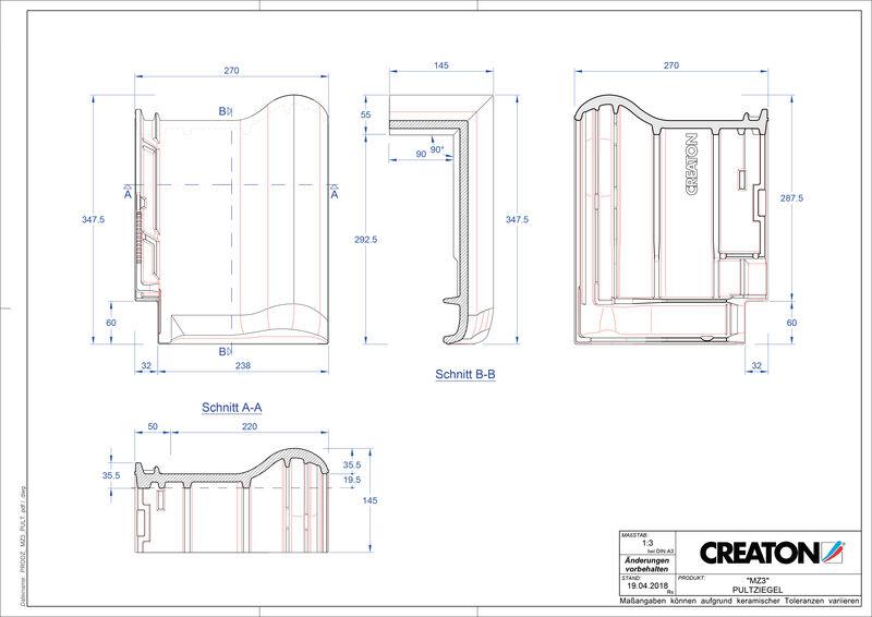 CAD файл черепиці MZ3 NEU черепиця для односхилого даху PULT