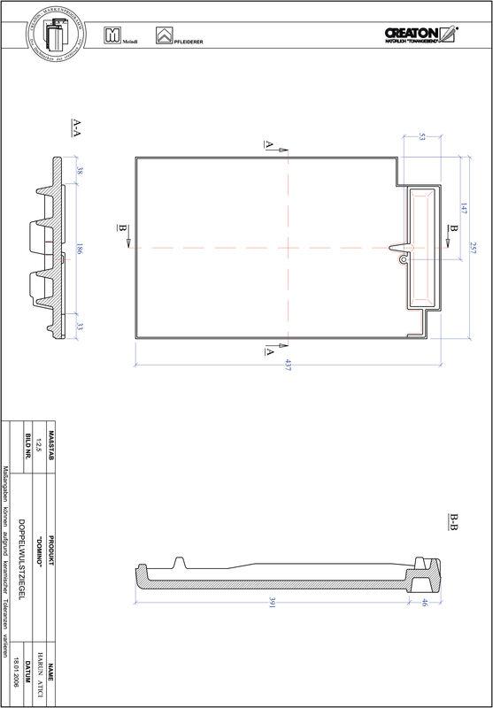 CAD файл черепиці DOMINO двохвильова черепиця DWZ