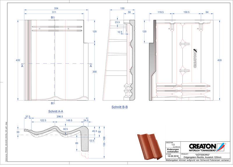 CAD файл черепиці GÖTEBORG черепиця бічна права для односхилого даху PultOGR-120