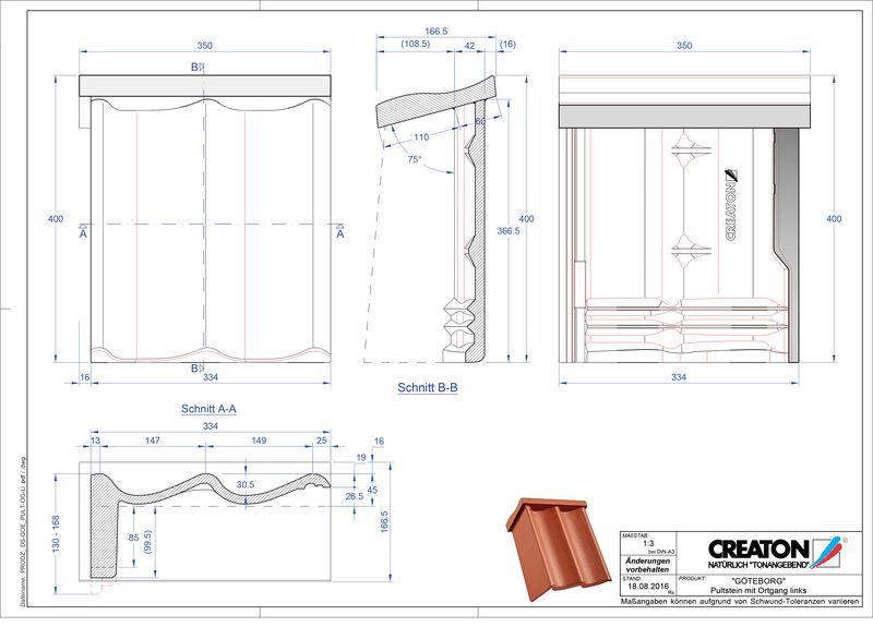CAD файл черепиці GÖTEBORG черепиця бічна ліва для односхилого даху PultOGL