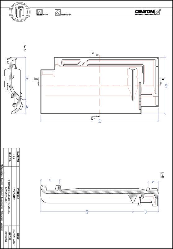 CAD файл черепиці FUTURA половинчаста черепиця  гребенева вентиляційна FALLH