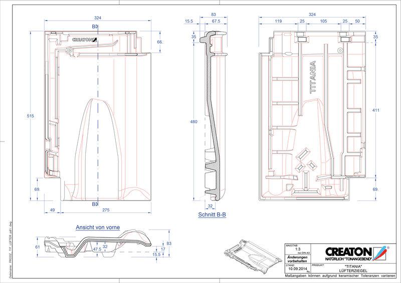 CAD файл черепиці TITANIA вентиляційна черепиця LUEFTZ