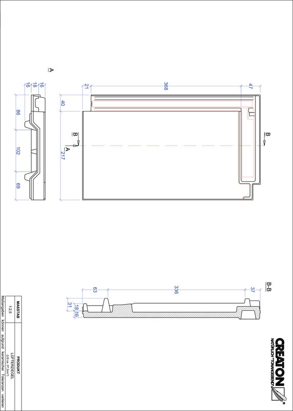 CAD файл черепиці DOMINO вентиляційна черепиця LUEFTZ