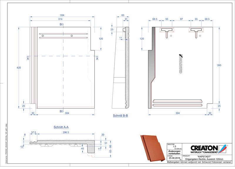 CAD файл черепиці KAPSTADT черепиця бічна права OGR-120