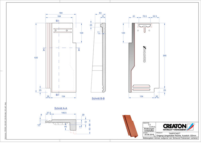CAD файл черепиці KAPSTADT черепиця бічна права OGR-halb-120