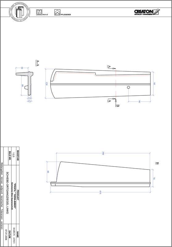 CAD файл черепиці PROFIL сегментна форма KERA-SAECHS-18-CM-OGL