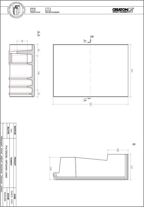 CAD файл черепиці DOMINO черепиця бічна ліва для односхилого даху PULTOGL